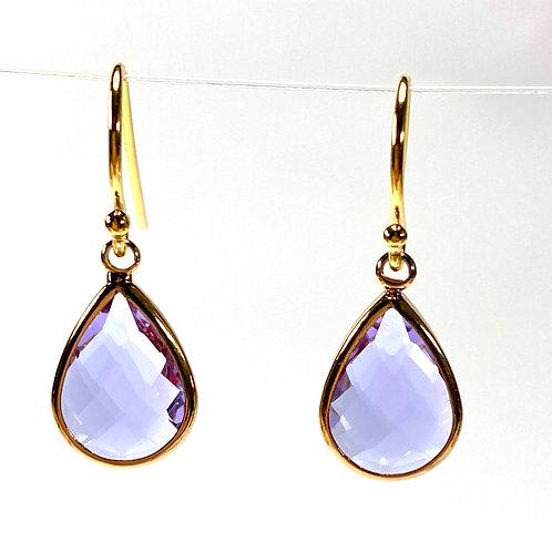 Lavendar Faceted Glass Teardrop Earrings