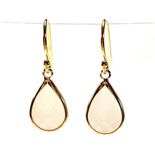 Opaque White Faceted Glass Teardrop Earrings