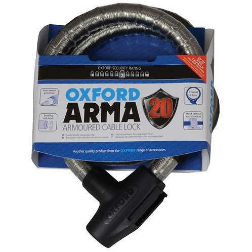 Oxford ARMA20 Armoured Cablelock 900x22mm Smoke