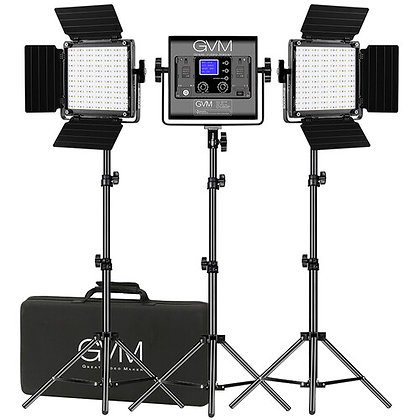 GVM 800D-RGB LED Studio 3-Video Light Kit