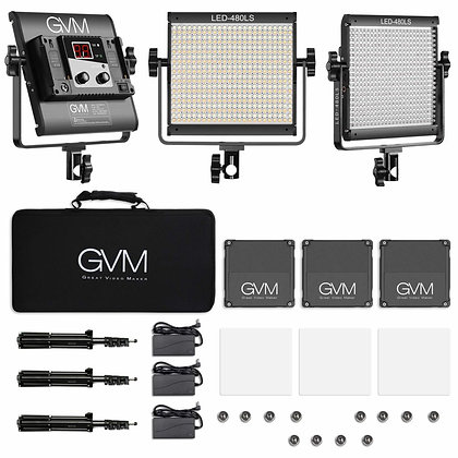 GVM 480LS Video Light 3-Panel Kit