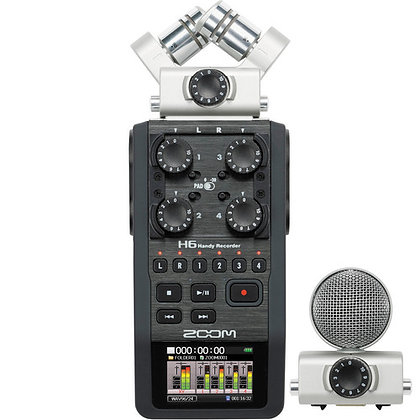 Zoom H6 6-Input / 6-Track Portable Handy Recorder with Interchangeable Mic Capsu