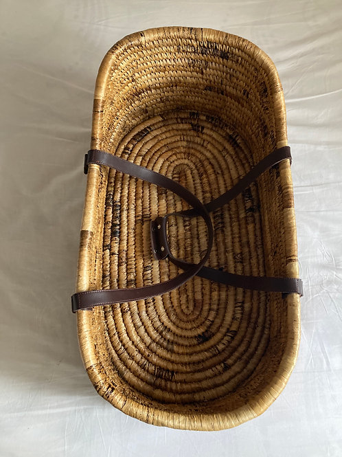 Moses Basket with Leather Handles