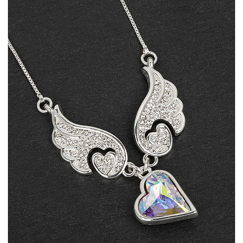 Guardian Angel Wings Heart Necklace