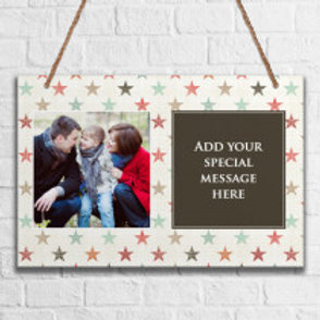 Pastel Stars - Metal Hanging Sign - Photo & Text