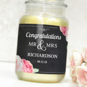 Mr & Mrs (Black) - Bottle / Candle Label - Name