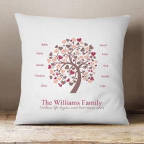 Family Tree - Velvet Cushion - Names Only