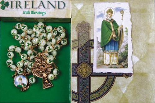 Saint Patrick - Plastic Luminous Rosary with Shamrock
