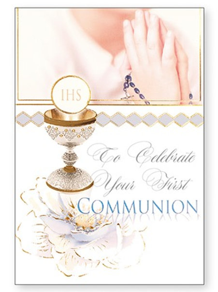 First Holy Communion Card - Praying Hands