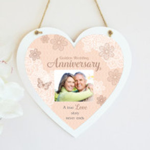 Golden Wedding Anniversary Hanging Heart  - Photo