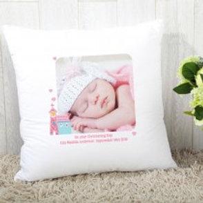 Baby Girl (Church) - Velvet Cushion - Photo & Text