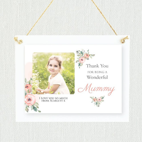 Hanging Plaque with White Wood - Photo and Text