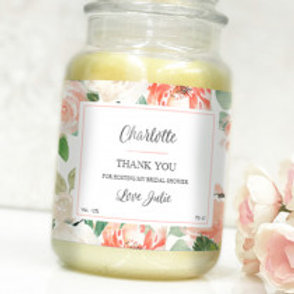 Thank you Floral - Bottle / Candle Label - Name