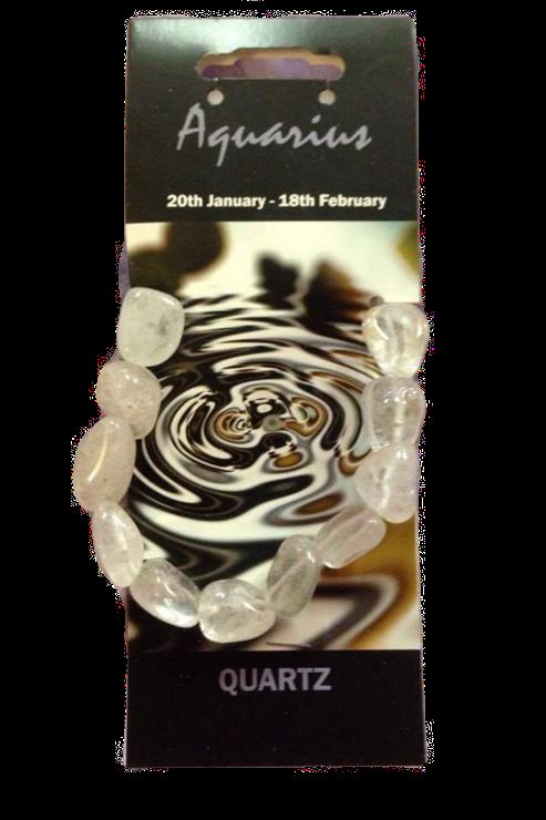 Clear Quartz Bracelet - Aquarius Zodiac Sign