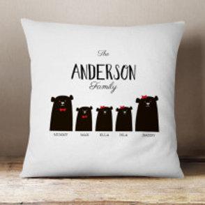 Bear Family of 5 (1 Boy 2 Girls)  - Velvet Cushion - Names Only