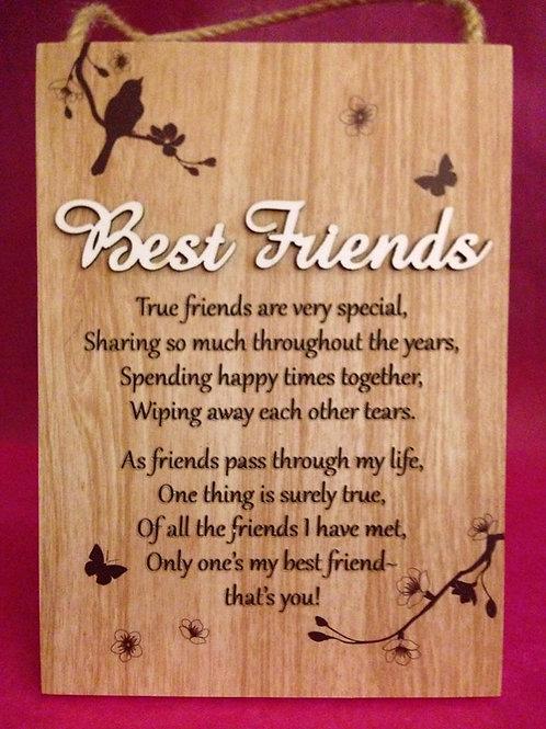 Best Friends - Inspirational Hanging / Standing Plaque