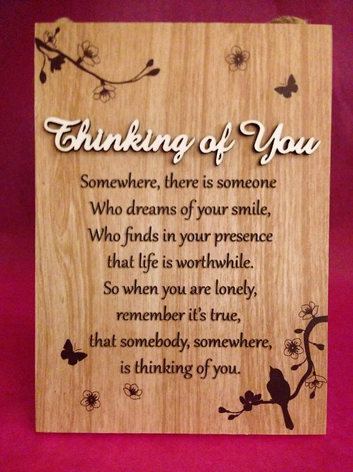 Thinking of You - Inspirational Hanging / Standing Plaque