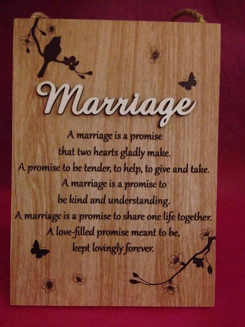 Marriage - Inspirational Hanging / Standing Plaque