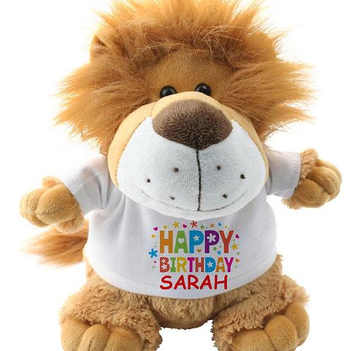 Personalised Lion Teddy Happy Birthday
