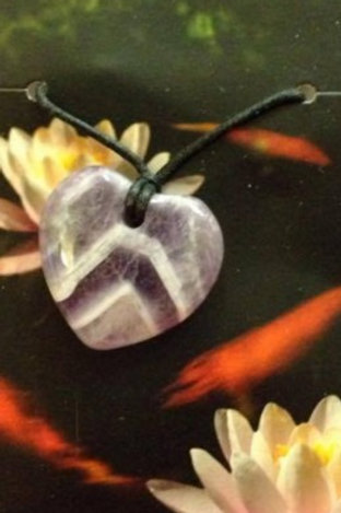 Amethyst Heart Pendant - Pisces Zodiac Sign