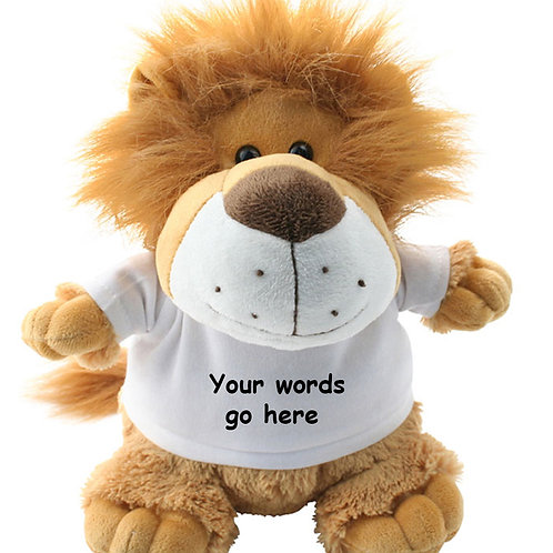 Personalised Lion Teddy Text only