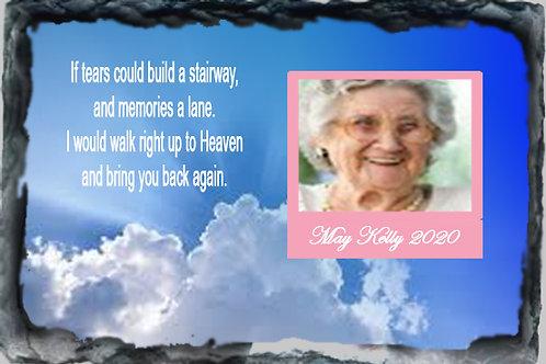 LARGE MEMORIAL SLATE - stairway & clouds