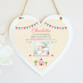 Christening / Holy Communion Hanging Heart  - Girl - Photo & Text