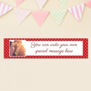 Love Heart Pattern Banner - Text & Photo