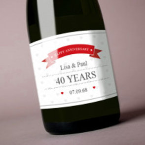 Ruby Wedding Anniversary -Bottle / Candle Label  - Names