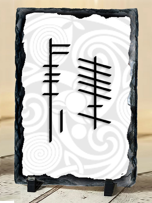 Large Slate with your names in Ogham