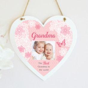 Grandma - Pink Hanging Heart  - Photo