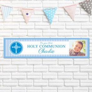 Holy Communion Blue Banner - Name & Photo