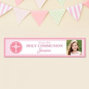 Pink Communion Banner - Text & Photo
