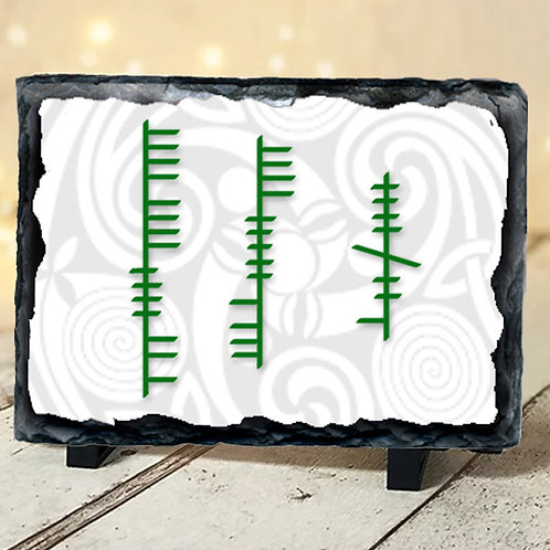 Large Slate with Green Ogham House Blessing