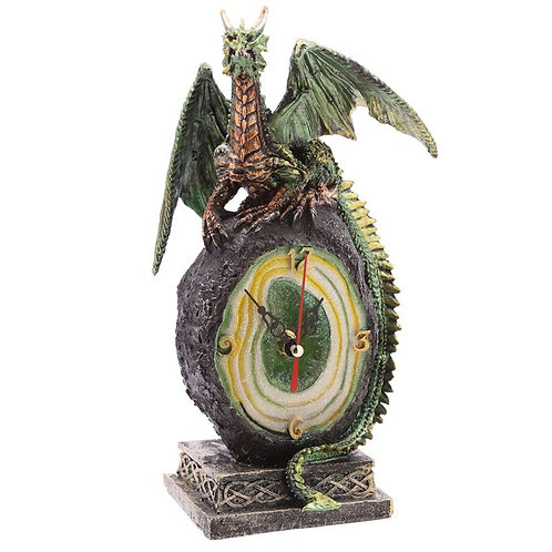 Geode Crystal Dragon Clock Green