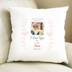 I love you to the Moon - Velvet Cushion - Photo & Text