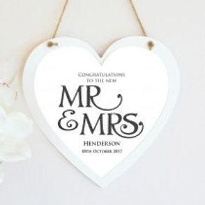 Mr & Mrs Hanging Heart -  Name Only