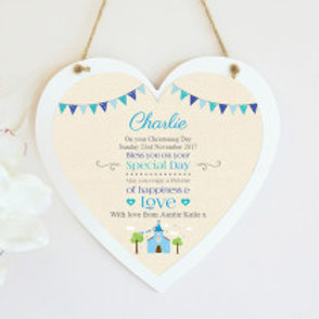 Christening / Holy Communion Hanging Heart - Boy - Name only