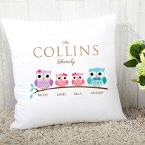 Owl Family of 4 (2 Girls)- Velvet Cushion - Names Only