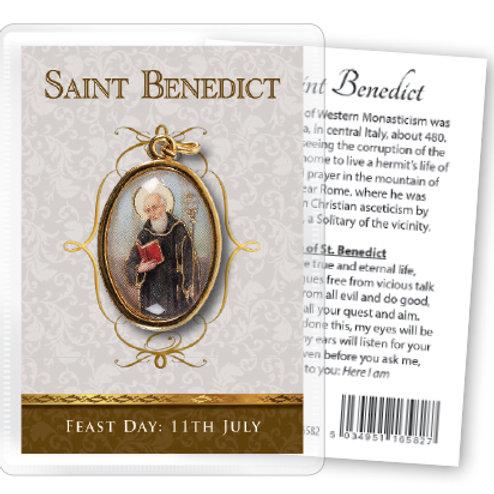 Saint Benedict - Gilt Medal (Gold) & Leaflet