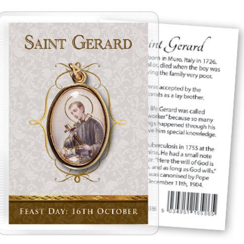Saint Gerard - Gilt Medal (Gold) & Leaflet