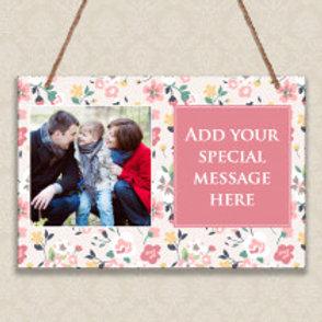 Pastel Floral - Metal Hanging Sign - Photo & Text