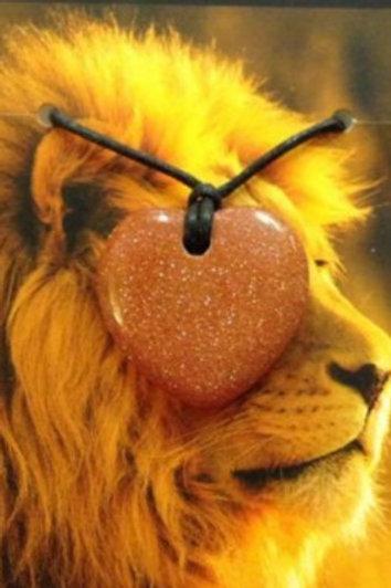 Goldstone Heart Pendant - Leo Zodiac Sign