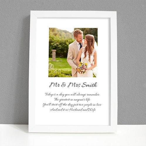 Wedding - Framed Artwork - Photo & Name