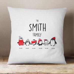 Penguin Family of 6 - Velvet Cushion - Names Only