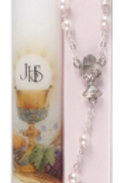 My First Holy Communion Candle & Rosary Pink