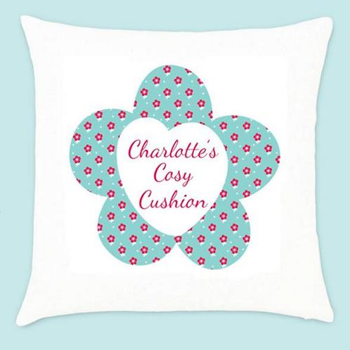 Velvet Cushion - Little Red Flower Pattern