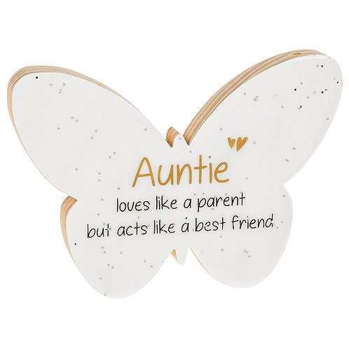 Auntie - Glitter Words Butterfly Plaque