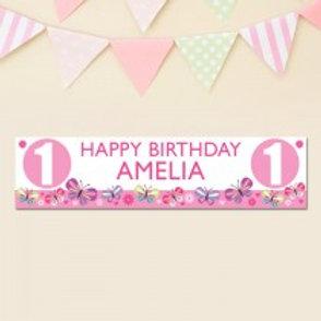 Birthday Banner Pink Banner - Name