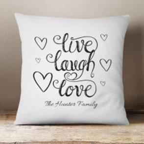 Live, Laugh, Love - Velvet Cushion - Family Name Only